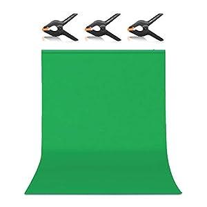 Hemmotop グリーンバック クロマキー 厚地 1.5x2.0m 暗幕 zoomのバーチャル背景 背景布 緑 強力クリップ3点付 撮影用 背景シート不透明 プロ スタジオ背景 スクリーンシート 写真 ビデオとテレビに対応 ポリエステル 150*200cm