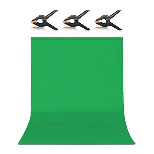 Hemmotop 背景布 緑 zoomのバーチャル背景 強力クリップ 2点付き 1.5m x 2.0m クロマキー バックペーパー ...