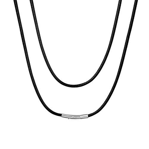 ChainsHouse Necklace Leather Collar de Cuero Hombre Cordon Cuero Collar Negro Hombres Mujeres, 3mm Ancho 55cm Largo, Regalo Amigo Familia