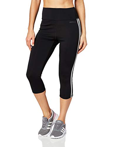 adidas Damen Tights D2M HR 3/4 3-Streifen, Black/White, L, DU2043