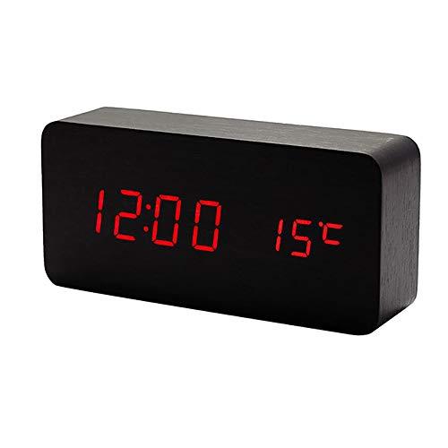 Lancoon Reloj Digital De Madera - Reloj Despertador Multifunción con Visualización De La Hora/Fecha/Temperatura Y Control De Voz para El Viaje A La Oficina Doméstica - AC11Black_Red