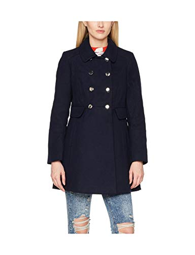 Ex Dorothy Perkins - Women's Double Breasted Coat with Fux Fur Collar, Navy, Size 10