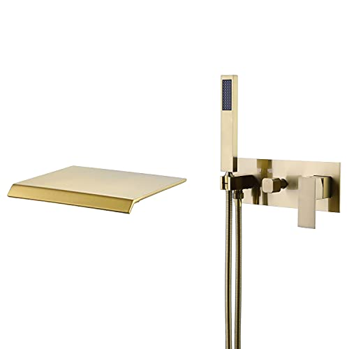 Artbath Brushed Gold Bathtub Faucet with High Flow Waterfall Spout and Hand Shower Wall Mount Waterfall Tub Filler Faucet