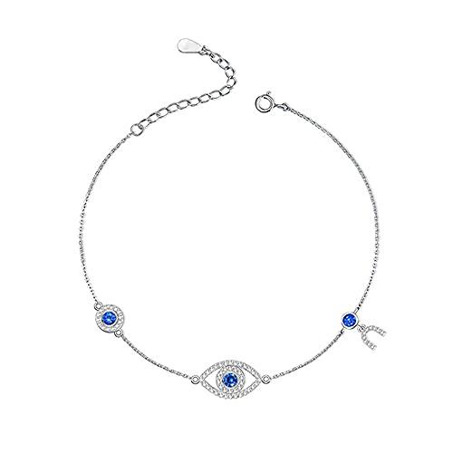 925 Pulseras de plata de ley para mujeres, AAA Nivel Azul Zirconia cúbica, cadena de extensor 6.5 + 1.5in, regalos de fiesta de aniversario de cumpleaños para mujeres niñas, plata