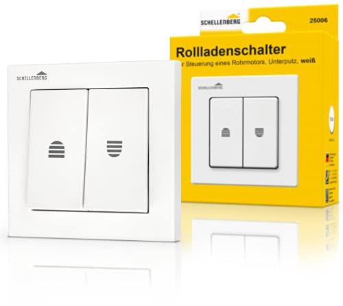 Schellenberg 25006 Rolladenschalter mit Rastfunktion, Doppel-Wippschalter zur Unterputzmontage, Einbautiefe ca. 30 mm, 230 V, Weiß, 80 x 80 x 30 mm