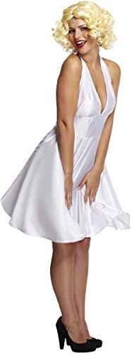 Emmas Garderobe 50's Film Star Kostüm Enthält Glamorous Weiß Halter Kleid -Halloween-Kostüm Groß für Hollywood-Themenveranstaltungen, Theaterstücke oder Hen Parties - UK Größe 6-12(Women: 38, White)