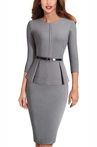 HOMEYEE Elegantes Damen Schößchen mit Rundhalsausschnitt Businesskleid B473 (EU 36 = Size S, Grau)