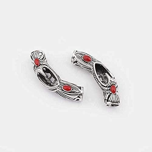 LiuliuBull 5 Unids Tibetan Silver Hollow Tubo Curvado Spacer Beads Conector de Flores Charms para 5/6/7 / 9mm Cord Pulsera Hallazgo Hallazgo Hallazgo (Color : 22)