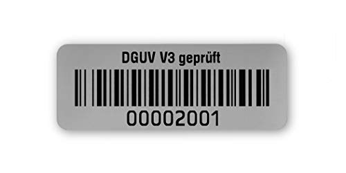 Prüfetiketten DGUV V3 geprüft, 40x15mm, silberoptik matt, fertig bedruckt mit 8-stelligem fortlaufendem Barcode 128B für alle gängigen Prüfgeräte. Nummernkreis 00002 001.00003 000
