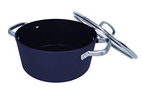 Arcos Serie Samoa | Cacerola Antiadherente 24 cm y 4,3 L | Aluminio Forjado | Apta cualquier cocina | Asas Acero Inoxidable Efecto Frio | Sistema ahorro energético | Apta lavavajillas | Color Negro