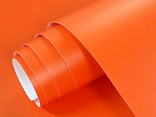 Vinilo Adhesivo Mate para Muebles Tamaño 60x120 cm Combina Colores Blanco Negro Grises Oro Plata Papel Autoadhesivo para Paredes Cristales Manualidades (Naranja)