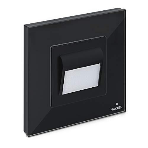 Navaris Luz LED para escalera o pasillo - Foco empotrable para pared de escaleras pasillos caminos - Diseño moderno con panel de cristal - En negro