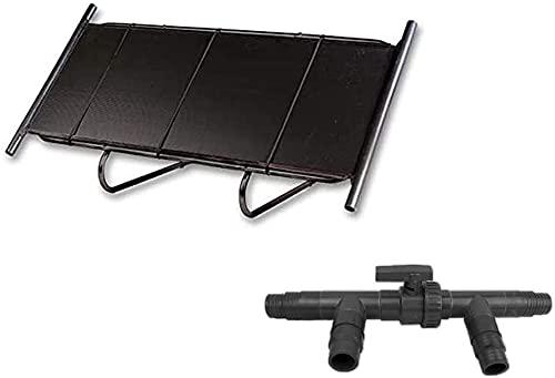 well2wellness® Pool Solarheizung Solarmatte 0,6 x 1,5 m (= 0,9 m²) mit Ständer, 3-Wege Solarweiche + Anschluss-Set