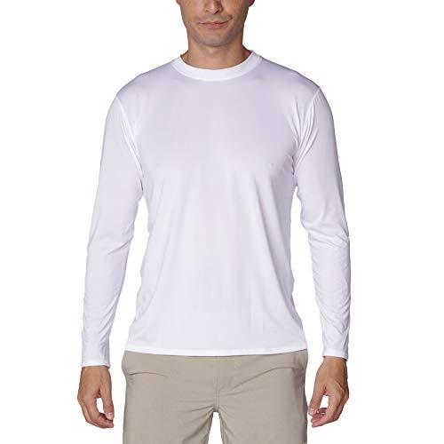Men's UPF 50+ UV/Sun Protection Casual Long Sleeve T-Shirt (White, Large)