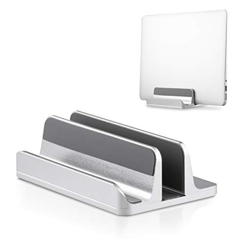 Blumax Aluminium Laptop Ständer Halterung Aufsteller vertikal für alle Handys und Notebook Silber