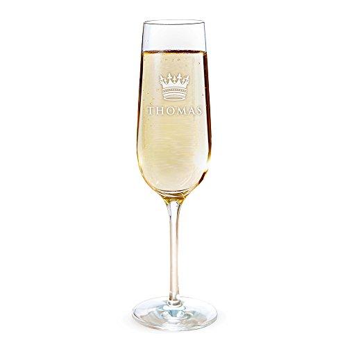 AMAVEL Sektglas mit Gravur, Große Krone, Personalisiert mit Namen, Individueller Sektkelch