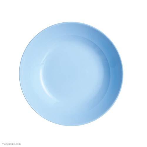Dajar Diwali Light Blue Plato Hondo de Cristal Templado (20 cm), Color Azul Claro