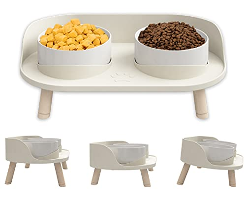 Elevated Cat Food Bowls, Ceramics Dog Cat Water Bowls Stand with No-Spill Design,3 Adjustable Heights Anti Vomiting cat Bowl,5 inches Ceramic Bowl for...
