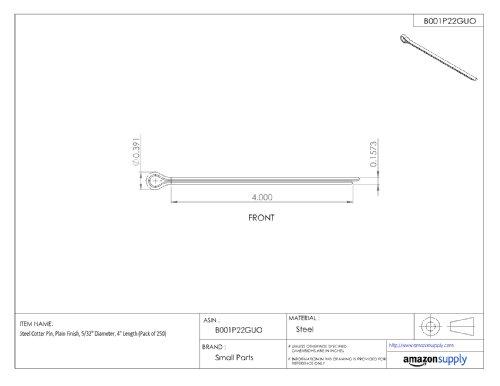 Steel Cotter Pin Plain Finish Pack of 50 2-1//2 Length 5//16 Diameter
