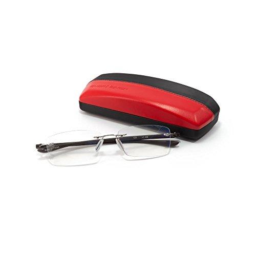 MIDI-ミディ ふちなし老眼鏡と良質メガネケースセット ブルーライトカット 紫外線カットレンズ ダークブラウン (M-307N,C3,+3.00)