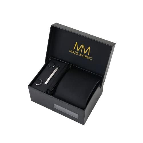 Massi Morino ® Set Cravate Homme (avec Mouchoir + Boutons de Manchette + épingle à Cravate) avec Coffret Cadeau (Noir)