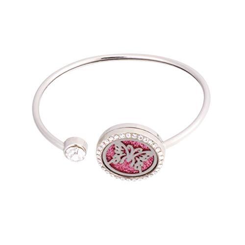 Pulseira difusora de óleo essencial para aromaterapia da Exceart com medalhão de aço inoxidável e bracelete para presente de joias femininas (coração), Picture 2, Size 2