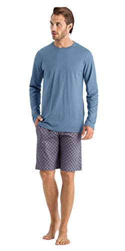 Hanro Herren Night & Day Long Sleeve Shirt Pyjama-Oberteil (Top), Karibikblau, XX-Large