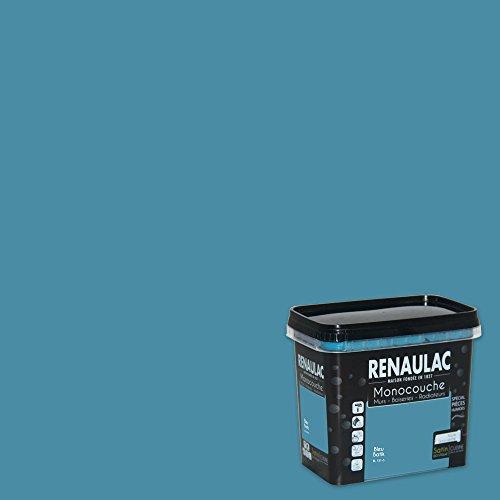 Renaulac Peinture monocouche Cuisine & Salles de Bain, Spéciale pièces humides, Bleu Batik Satin 0,75L - 8m²