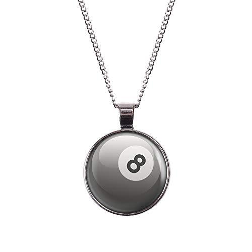 Mylery Hals-Kette mit Motiv 8-Ball Eight-Ball Pool-Billard Kugel Schwarz Weiß Silber 28mm