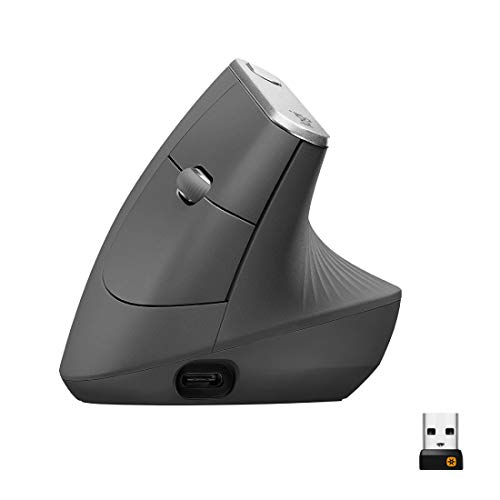 Logitech MX Vertical Souris sans Fil Ergonomique, Multi-Dispositifs, Bluetooth ou 2,4 GHz avec Récepteur USB Unifying, Suivi Optique 4000 PPP, 4 Boutons, Charge Rapide, Portable/PC/Mac/iPad OS - Noir