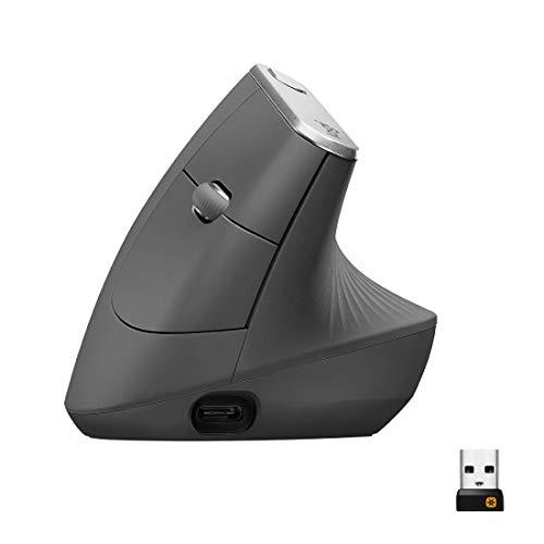 Logitech MX Vertical Souris sans Fil Ergonomique, Multi-Dispositifs, Bluetooth ou 2,4 GHz avec Récepteur USB Unifying, Suivi Optique 4000 PPP, 4 Boutons, Charge Rapide, Portable/PC/Mac/iPad OS - Noire
