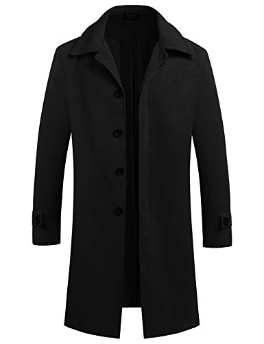 COOFANDY Men's Wool Trench Coat Cotton Single Breasted Long Jacket Overcoat Winter