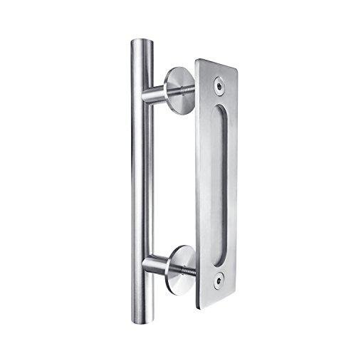 SMARTSTANDARD Stainless Steel 12 Inch Heavy Duty Sliding Barn Door Handle, Pull and Flush Hardware Set, Round