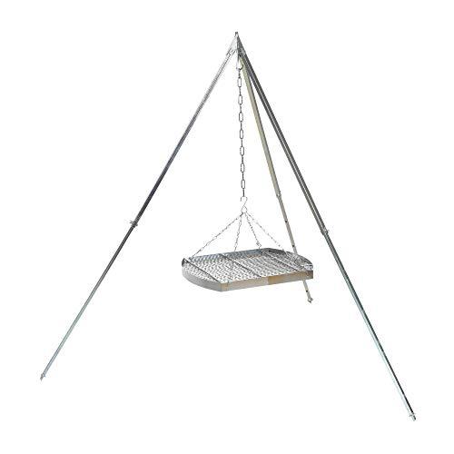 acerto 31820 Ungarischer Grillrost (50cm) mit Dreibein (170cm) & Kette * Verchromt * Mit Außenring * Besonders robust Grillgitter zum Aufhängen am Dreibein Gitterrost, Grillauflage für Schwenk-Grill