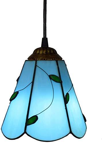 DALUXE Tiffany Techo LED del Estilo de país Dini 6 Pulgadas Tonos Colgante Tiffany Pnedent lámpara Pendiente pequeña lámpara de Placas de Vidrio Azul luz de Techo de Comedor, Cocina Isla E26
