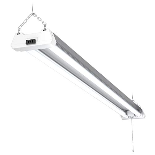 Sunco Lighting 1 Pack 4ft 48 Inch LED Utility Shop Light 40W (260W Equivalent) 5000K Kelvin Daylight, 4100 Lumens, Double Integrated Linkable Garage Ceiling Fixture, Frosted - Energy Star/ETL