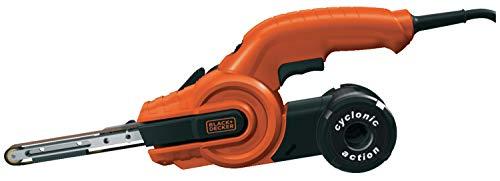 BLACK+DECKER KA900E-QS Lime électrique filaire, Usage Intermédiaire - 3 Bandes Abrasives - 1 Bras Droit 13 mm - Interrupteur Anti-Poussière, 350W 455 x 13 mm
