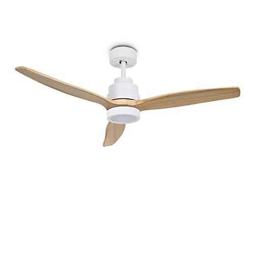 IKOHS WINDLIGHT White - Ventilador de Techo con Luz, 3 Aspas, Mando a Distancia, 132 cm de Diámetro, 6 Velocidades, Silencioso, Temporizador, Aspas de Madera, 3 Tipos de Luz, 40W ((Madera Natural)