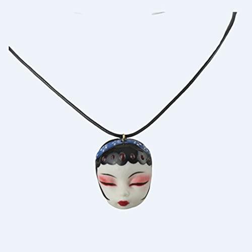 LYWER Alte Stil Geschenk Handgemalte Peking Opera Gesichtsmake-up Huadan Weibliche Halskette Keramik Gesichtsmaske Porzellan Puppe Puppe Kopf Anhänger Geschenk