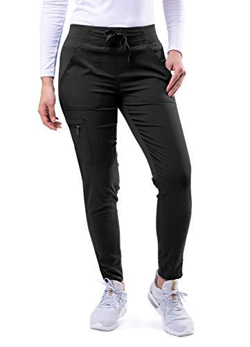 Adar Pro Scrubs for Women - Ultimate Yoga Jogger Scrub Pants - P7104 - Black - S