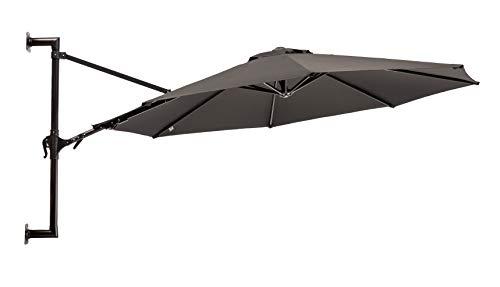 MaxxGarden - Ombrellone da giardino galleggiante a parete, diametro 270 cm, in alluminio, colore: nero