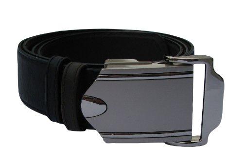 Herrengürtel aus Leder mit Automatikschließe - stufenlos einstellbar, kürzbar, Überlänge bis 150cm, Gürtel in schwarz und dunkel braun, Wendegürtel