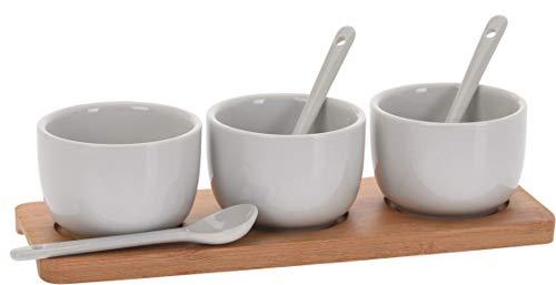 7-teiliges Keramik Servier-Set Sauce Dip Marmelade Schale & Löffel mit Bambus Tablett