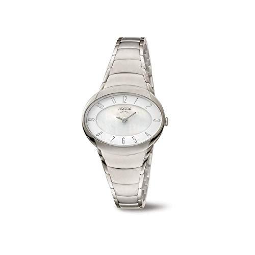 Boccia Damen Analog Quarz Uhr mit Titan Armband 3255-03