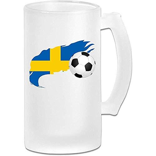 Voetbal met Zweden Vlag Frosted Glass Stein Beer Mok, Pub Mok, Drank Mok, Gift voor Bier Drinker, 500Ml (16.9Oz)