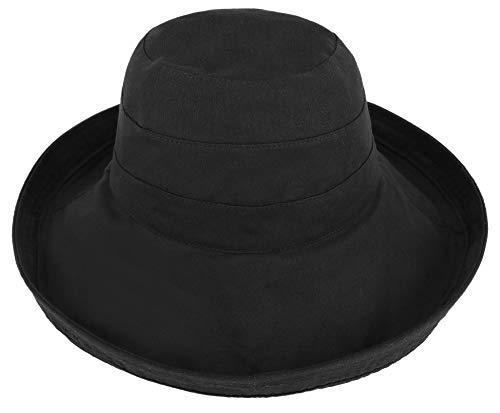 Simplicity Sun Hat Women Summer Packable Sun Hat with Big Fold-Up Brim, Black