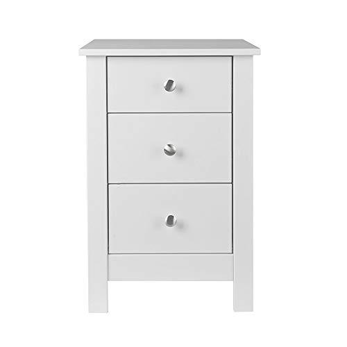 NJA Furniture Shaker nachtkastje met 3 laden, wit, 40 x 40 x 60 cm