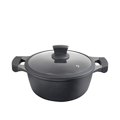 Metaltex XPERT-Cacerola Alta Aluminio Fundido, 24 cm, antiadherente ILAG 3 capas, Full Induction válido para todo tipo de cocinas, Negro