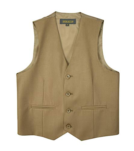 Spring Notion Big Boys' Four Buttons Suit Vest Waistcoat 10 Khaki