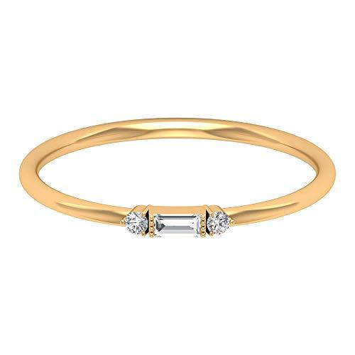 Anillo de tres piedras, anillo solitario de diamantes baguette, anillo de promesa Trinity, apilable para todos los días, regalo de dama de honor, 14K Oro amarillo, Size:EU 58